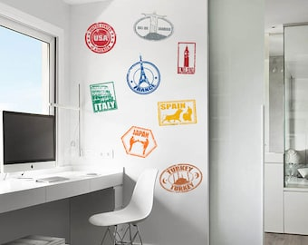 Travel Vinyl Wall Decals -Stamp Decals