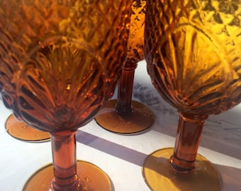 Vintage Amber Sandwich Glass Large Wine Glasses Set of 4