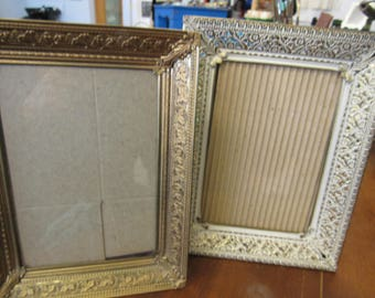 Set of 2 Ornate Metal Picture Frames with Glass