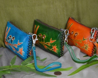 Genuine leather change Purse, wristlet wallet, rectangle, Love Birds on Bamboo, More color