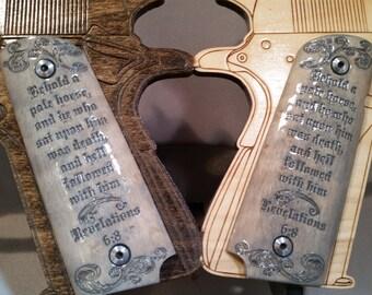 Revelation 6:8 Pale Horse Engraved Full size 1911 grips