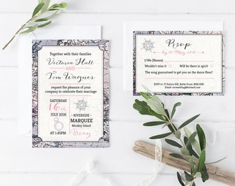 Mapped- Wedding Invitations Bundle - Invite and RSVP