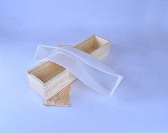 B0267 Loaf Soap Mold Silicone Liner with Wooden Box Rectangle Toast Baking Cake Mould