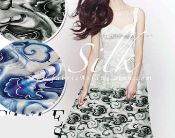 Grey silk Cloud fabric Oriental fabric 118x120cm achat tissu asiatique