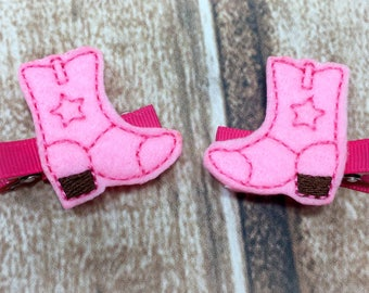 Pink Cowboy Boot Hair Clip, Cowgirl Boot Clip, Pink Hair Clip, Clippies, Pig Tail Hair Clips, Piggy Tail Clips, Pig Tail Bow