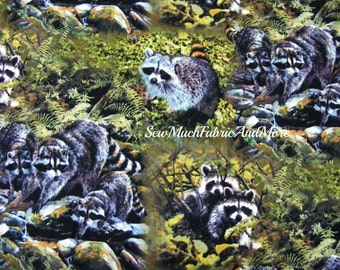 Masked Bandits Raccoons Fabric~By the 1/2 yard~Wildlife~Springs Creative~Cotton~Country~CP53283