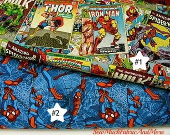 Comic Book Covers & Spiderman Fabric~By the yd~2 Designs~cotton~Hulk~Thor~Captain America~Iron Man~comics