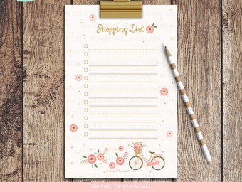 Flower Bicycle Shopping List - Instant Download - ST005