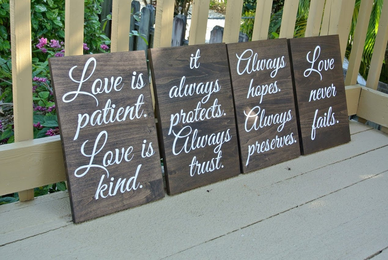 Wedding Aisle Signs Rustic Wooden Decor Ceremony Love Is Patient Kind Christian Gift