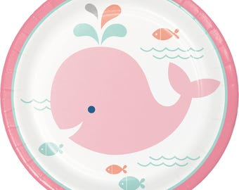 Whale party Dessert Plates / Whale Party / Whale theme baby shower / Whale baby shower /pink whale/baby shower