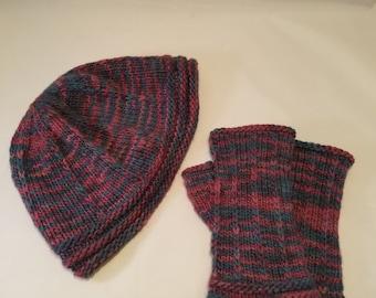 100% Merino Hat and Fingerless Mitt Set