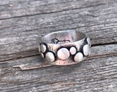 Hammered Scrap Wide Band Ring, size 8