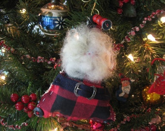 Handmade Santa Ornament Red and Black Cotton Plaid, Button and Bead Accents, Sheep's Wool Beard  and Hair, Deco Silver Buckle