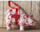 SALE Valentine ornaments, pink hearts, Christmas ornaments, animal ornaments, pig lover gift, novelty ornaments, pigs, Valentines Day gifts