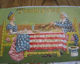 Vintage Thanksgiving Patriotic postcard