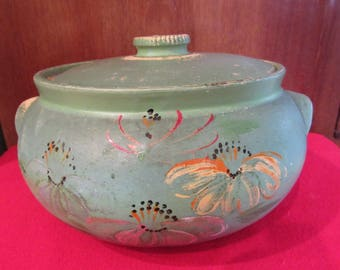 Primitive green cookie Jar or Covered Bowl