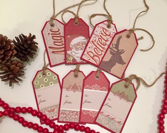 Christmas Gift Tags, Money Envelope, Set of eight gift Tags,  Holiday Gift Tags, Christmas Tag