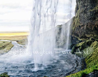 Seljalandsfoss, waterfall, Iceland Photography, travel photography, waterfall photo, Iceland, blue, green, nature photography, Iceland art