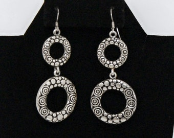 Mod 80's sterling bubbles & swirls go go style hippie dangles, big articulated oxidized 925 silver boho geometric circles statement earrings