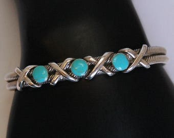 80's sterling turquoise industrial XO rope statement cuff, big Southwestern hugs & kisses Mexico 925 silver turquoise stackable bracelet