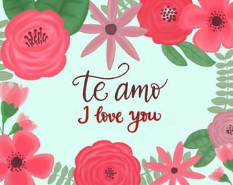 """Handdrawn + Handlettered """"I love you"""" card in Spanish, French, German or Chinese"""