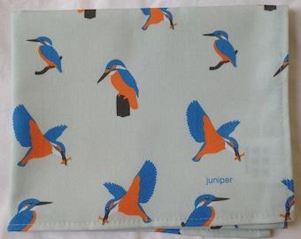 kingfisher tea towel - kingfisher kitchen towel - kingfisher print on blue background - in 100% cotton