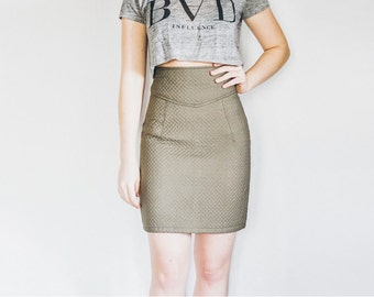 70s Wiggle Skirt, Bodycon Skirt, Fitted Skirt, High Waist Skirt, Green Grey Skirt, Size S Small Skirt, Tight Pencil Skirt