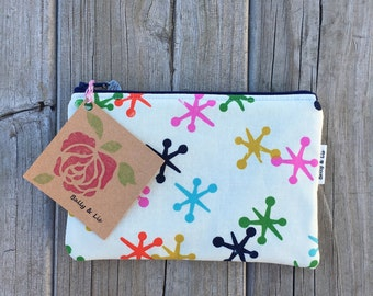 Jacks Small Cosmetic Bag, Small Pouch, Makeup Bag, Small Pouch Purse, Small Cosmetic Pouch, Zipper Pouch, Makeup Pouch