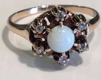 Antique Victorian Opal and Rose Cut Diamond 10k Yellow Gold Ring Size 4.25