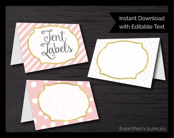 Pink and Gold Baby Shower Tent Labels // Pink Baby Shower Food Labels // Girl Baby Shower Labels // Editable // Instant Download