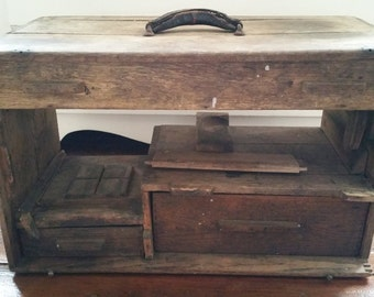 Antique Primitive Handmade Tool Chest, Vintage Dovetail Wooden Tool Case, Rustic Farmhouse Storage Case