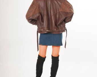 Vintage suede and leather coat