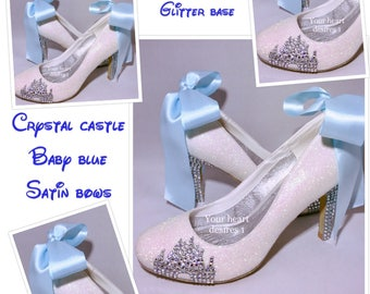 Disney shoes / wedding shoes / satin ribbon bow / crystal shoes / custom shoes