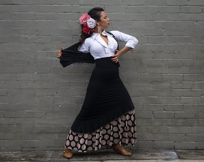 Black ANTONIETA Flamenco skirt with champagne lunares