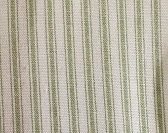 Thick Green Ticking - Stripe Fabric - Upholstery Fabric by The Yard