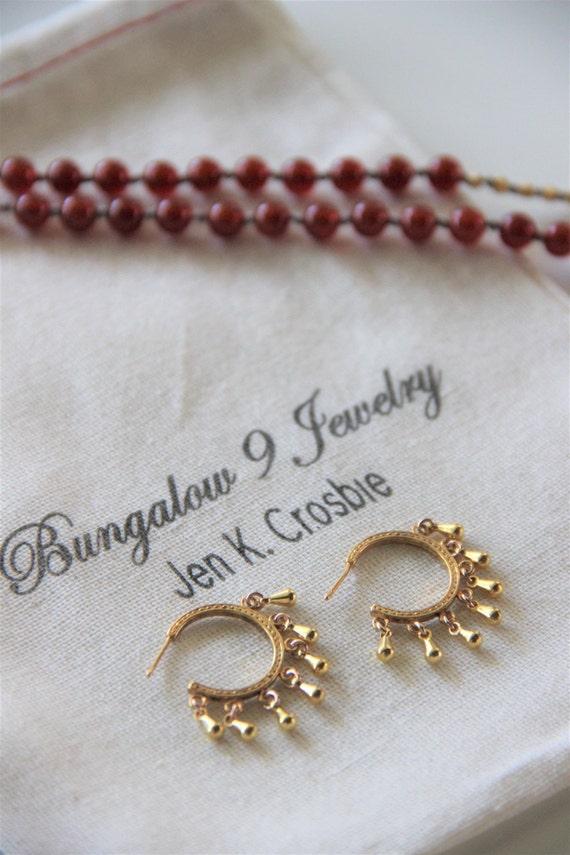 Gypsy Inspired Gold Hoop Stud Earrings