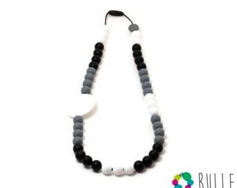 Silicone teething necklace - Glam Clair de lune- blanc, noir et gris