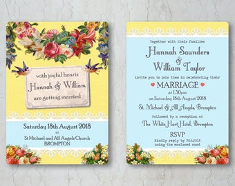 Vintage Brights Wedding Invitation