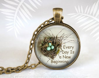 Quote Jewelry, cabochon jewelry, Birds Nest, Bird Eggs, glass pendant, Positive message pendant, Gift for women, nature, Boho Jewelry