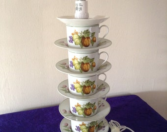 Teacup lamp with fruity cups and saucers