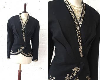 Anya Black with White Embroidery Vintage Blazer