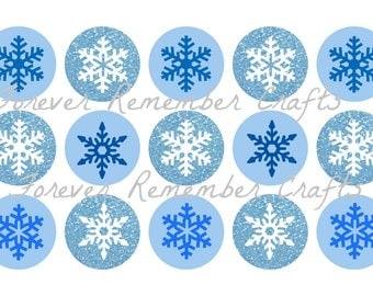 INSTANT DOWNLOAD 1 Inch Snowflakes  Bottle Cap Image Sheets *Digital Image* 4x6 Sheet With 15 Images