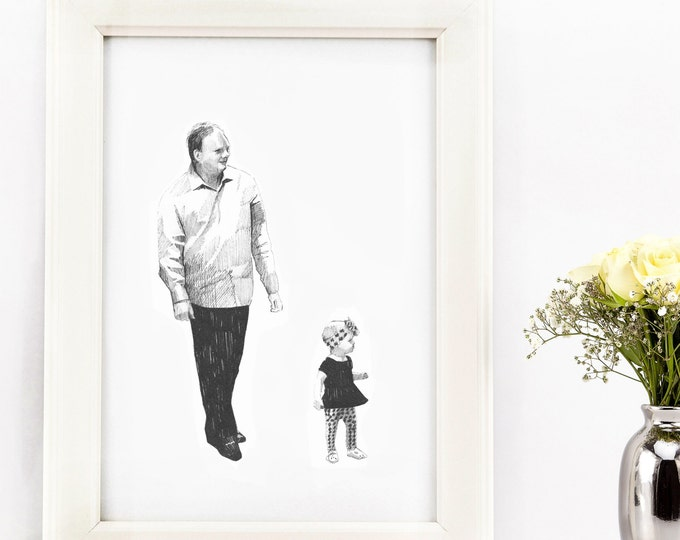 Classy black and white custom portrait illustration for a couple or a family - original Christmas gift