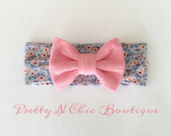 NEW! Dusty Pink and Gray Floral Print Bow Headwrap