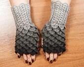 Dragon Scale Fingerless Gloves, Dragon Gloves, Crocodile Fingerless Gloves, Gift For Her, Gift For Christmas by LoveKnittings