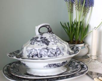 Very Rare Antique Victorian Francis Morley Aurora Floral Transferware Tureen