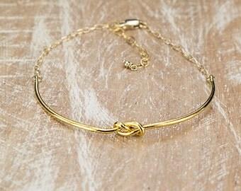Love Knot Bracelet/Love Knot Cuff/Gold Love Knot Bracelet