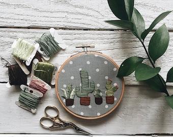 Cactus Embroidery// Cactus Print// Cactus Pattern// Succulent Embroidery// Succulent Art// Cactus Art