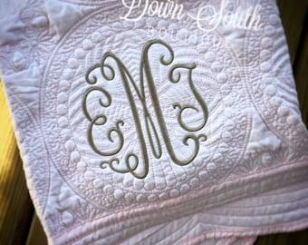 Monogram initial baby quilt