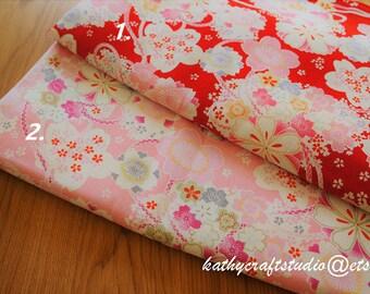 Half yard cotton linen fabric--cherry blossom pattern